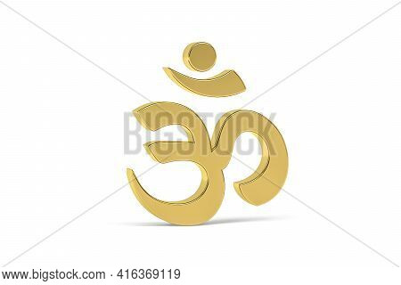 Golden 3d Indian Culture Icon Isolated On White Background - Translate: Om, Hinduism Symbol - 3d Ren