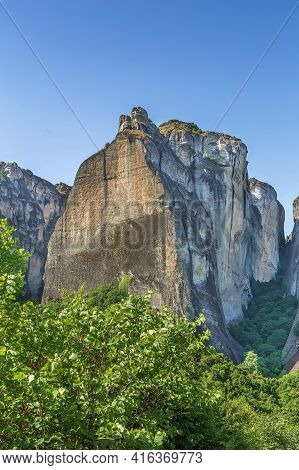 View Of Big Rock In Meteora Mountain Range, Greece