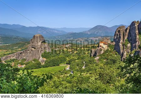 Landscape With Rock And  Monastery Of St. Nicholas Anapausas In Meteora, Greece