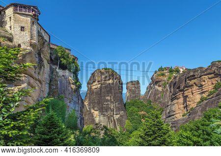 View Of Rocks In Meteora In Summer, Greece
