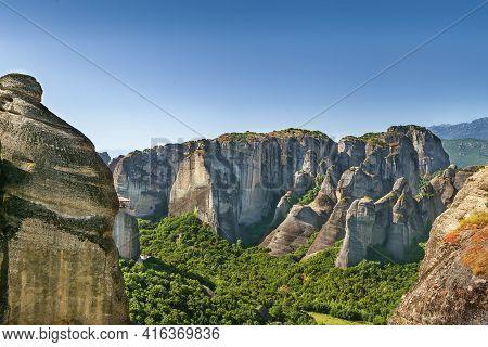 Landscape With Rocks In Meteora In Summer,greece