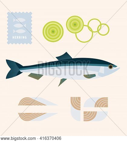 Herring Fish With Onion Rings And Fillets, Seafood, Element Of Menu Design, Icon, Poster, Logo Templ