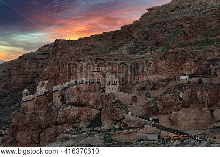 View Of The Mount Of Temptations In The Evening. High Quality Photo