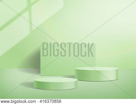 Cylinder Abstract Podium On Pastel Green Background. Olive Color Stand To Show Cosmetic Products. St