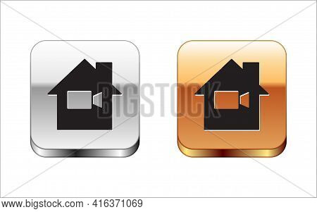 Black Video Camera Off In Home Icon Isolated On White Background. No Video. Silver And Gold Square B