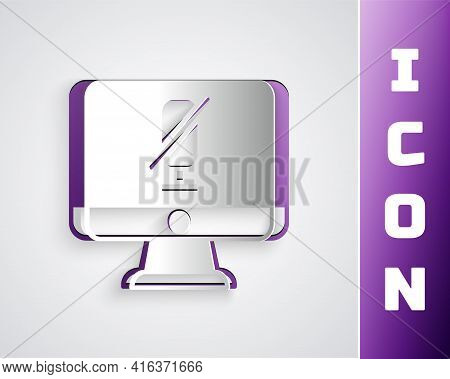Paper Cut Mute Microphone On Computer Icon Isolated On Grey Background. Microphone Audio Muted. Pape