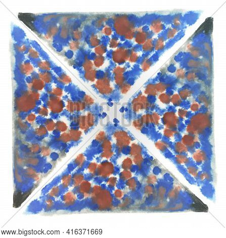 Handmade Blue, Orange And Red Pigments Splash On A White Backdrop. Abstract Multicolored Stains. Squ