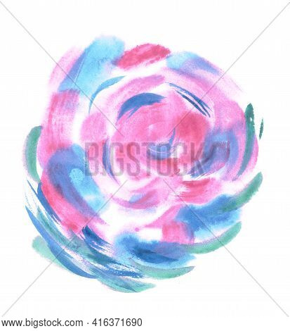 Colorful Watercolor Sphere. Painted Design Elements. Bud. Blue Wet Hand Painted Round Blotch Circle.