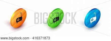 Isometric Stationary Bicycle Icon Isolated On White Background. Exercise Bike. Circle Button. Vector