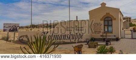 Kolmanskop, Namibia - January 04.2021: Entrance Of Kolmanskop Ghost Town In Namibia With The Sign Ko
