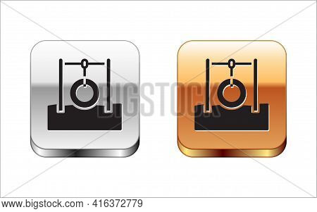 Black Car Tire Hanging On Rope Icon Isolated On White Background. Playground Equipment With Hanging