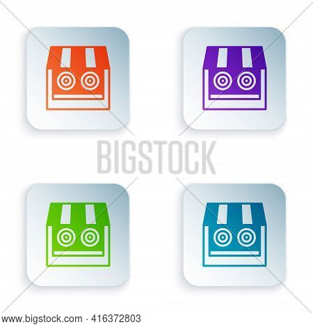 Color Shooting Gallery Icon Isolated On White Background. Shooting Range. Set Colorful Icons In Squa
