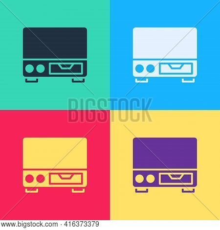 Pop Art Old Video Cassette Player Icon Isolated On Color Background. Old Beautiful Retro Hipster Vid