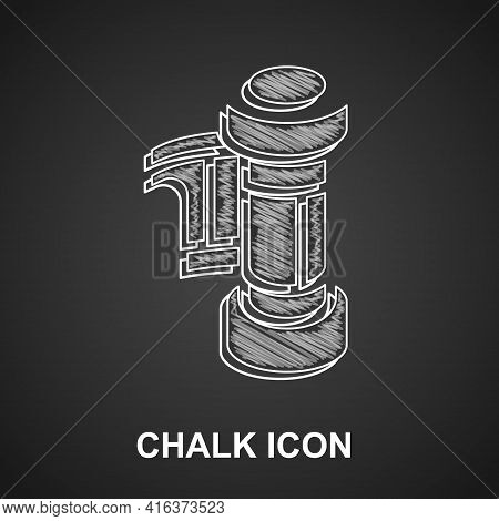 Chalk Camera Vintage Film Roll Cartridge Icon Isolated On Black Background. 35mm Film Canister. Film