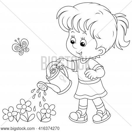 Happy Little Girl Watering Garden Flowers On A Small Flowerbed On A Warm Summer Day, Black And White