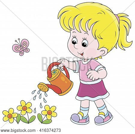 Happy Little Girl Watering Garden Flowers On A Small Flowerbed On A Warm Summer Day, Vector Cartoon