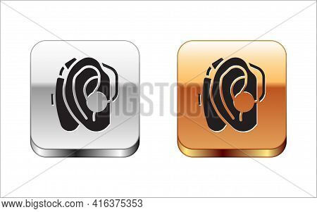 Black Hearing Aid Icon Isolated On White Background. Hearing And Ear. Silver And Gold Square Buttons