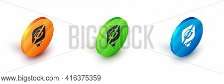 Isometric Blindness Icon Isolated On White Background. Blind Sign. Circle Button. Vector