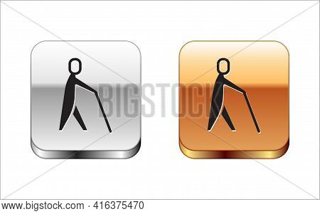 Black Blind Human Holding Stick Icon Isolated On White Background. Disabled Human With Blindness. Si