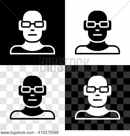 Set Poor Eyesight And Corrected Vision With Optical Glasses Icon Isolated On Black And White, Transp