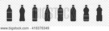 Water Bottles. Plastic Bottle Collection. Flat Vector Water Bottles Icons. Vector Illustration