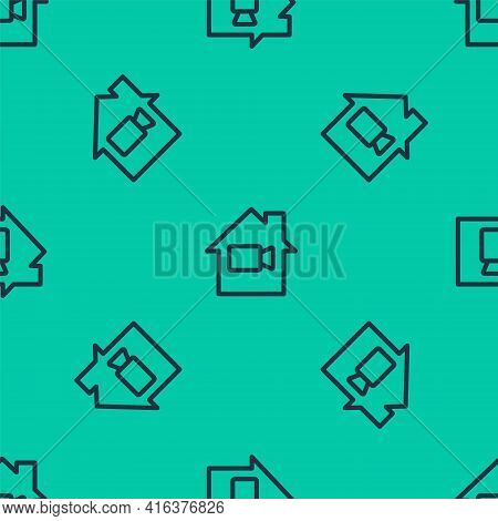 Blue Line Video Camera Off In Home Icon Isolated Seamless Pattern On Green Background. No Video. Vec