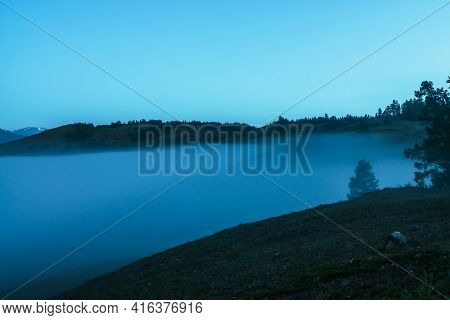 Atmospheric Mountain Landscape With Silhouette Of Tree On Hill Above Dense Fog Under Twilight Sky. A