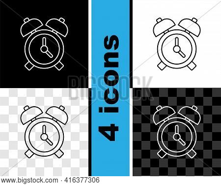 Set Line Alarm Clock Icon Isolated On Black And White, Transparent Background. Wake Up, Get Up Conce