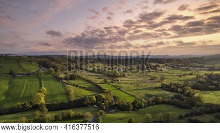 Beautiful Aerial Drone Landscape Image Of Peak District Countryside At Sunrise On Autumn Fall Mornin
