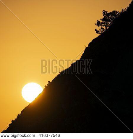 Stunning Poster Art Landscape Image Of Setting Sun Against Silhouette Landscape