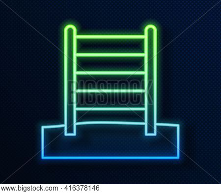 Glowing Neon Line Wooden Swedish Wall Icon Isolated On Blue Background. Swedish Stairs. Vector