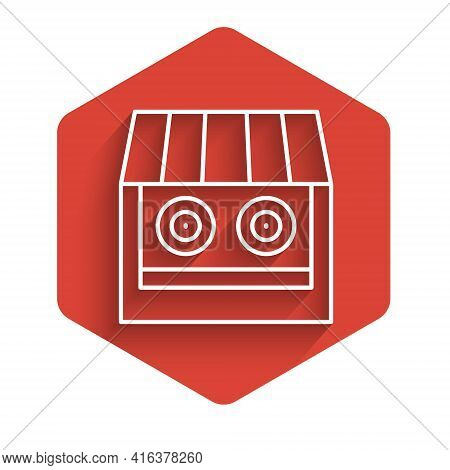 White Line Shooting Gallery Icon Isolated With Long Shadow. Shooting Range. Red Hexagon Button. Vect