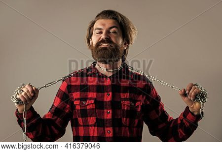 I Cant Breath. Concept Applicable For Business. Man Has Heavy Steel Chain On Neck. Conceptual Symbol