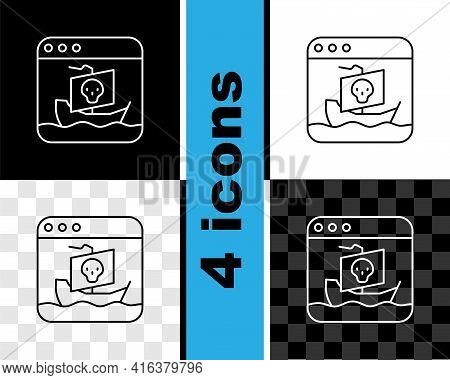 Set Line Internet Piracy Icon Isolated On Black And White, Transparent Background. Online Piracy. Cy