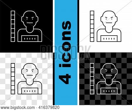 Set Line Suspect Criminal Icon Isolated On Black And White, Transparent Background. The Criminal In