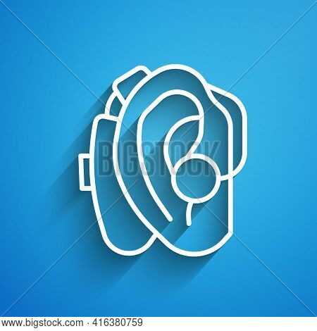 White Line Hearing Aid Icon Isolated On Blue Background. Hearing And Ear. Long Shadow. Vector