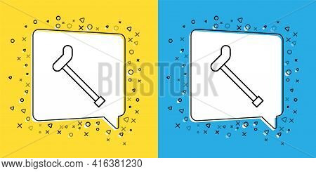 Set Line Walking Stick Cane Icon Isolated On Yellow And Blue Background. Vector