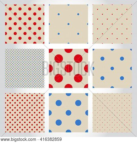 Set Of Cute Polka Dot Seamless Patterns. Collection Of Geometric Backgrounds With Dots, Circles. Rou
