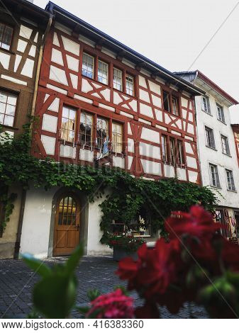 Traditional Typical Architecture Half-timbered House Buildings In Old Town Historic Centre Of Charmi
