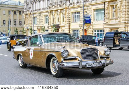 Moscow, Russia - June 2, 2013: Luxury Car Studebaker Golden Hawk Takes Part In The L.u.c. Chopard Cl