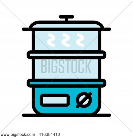Vector Color Steamer Icon In Simple Style, Isolated On White Background.