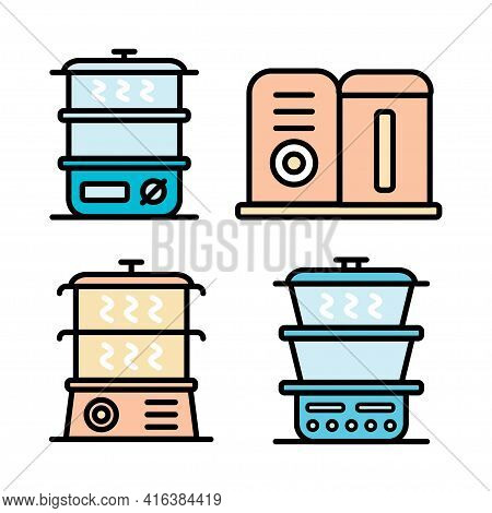 Steamer Color Icons Set. Vector Signs Collection In Simple Style, Isolated On White Background.