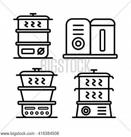 Steamer Icon Set. Outline Collection Of Steamer Vector Signs On White Background.