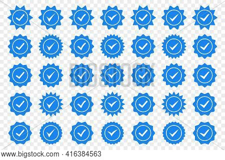 Set Of Blue Check Mark Badge Icons. Profile Verification Icons