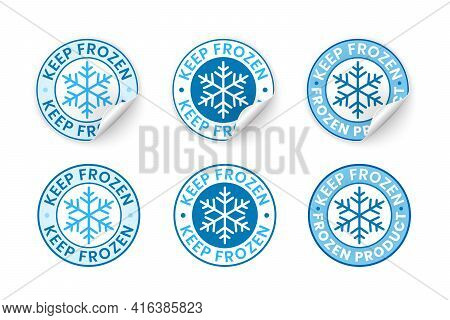 Keep Frozen Label Sticker With Curled Edge, Realistic Vector Illustration. Badge With Curled Corner