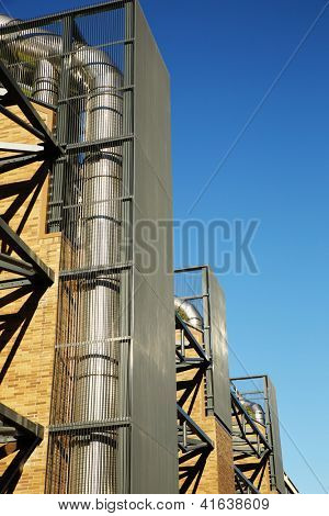 Massive exposed Heating Conduits of a modern building