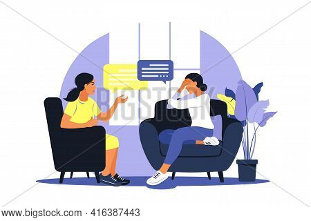 Therapy And Counselling Under Stress And Depression. Young Woman Psychotherapist Supports Female Wit