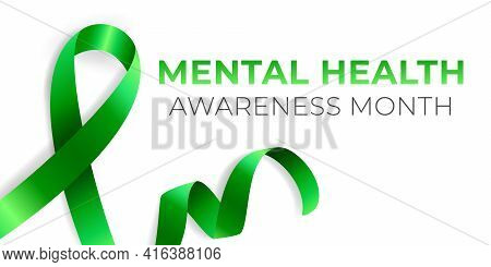 Mental Health Awareness Month Banner Template, Annual Celebration In May. Psychological Health Care