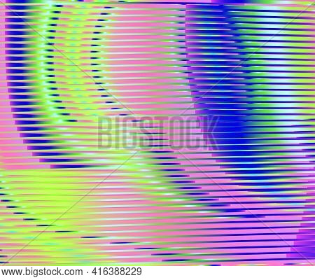 Bright Iridescent Vector Abstract Texture With Lines And Holographic Effect. Multicolored Gradient T