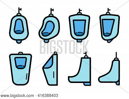 Urinal Color Icons Set Isolated On White Background. Vector Sign, Symbol Collection For Web And Mobi